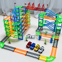 Assembled with a variety of multi-layer three-dimensional track train toys electric track racing gliding track car Children boy