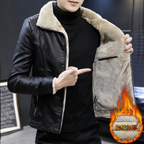 Leather Mens leather slim 2019 new Korean version of the trend plus velvet thick handsome autumn and winter soft leather jacket coat py