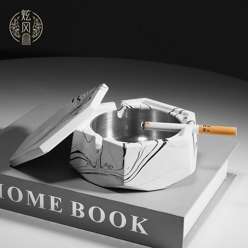 Nordic Creative Ashtray Personality Trend Fashion Simple Home Office Bar Large Cement Ashtray with Cover