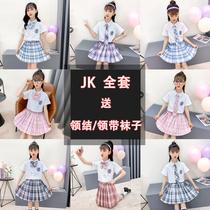 6 Girls jk uniform skirt 7 Genuine 12 Short-sleeved college style suit 8 Primary school student dress 14-year-old girl summer dress 9