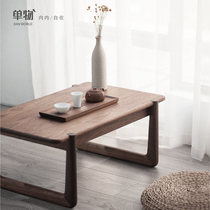 Floating window tea table tatami table black walnut solid wood small tea table Japanese-style Zen teapot simple square coffee table low table
