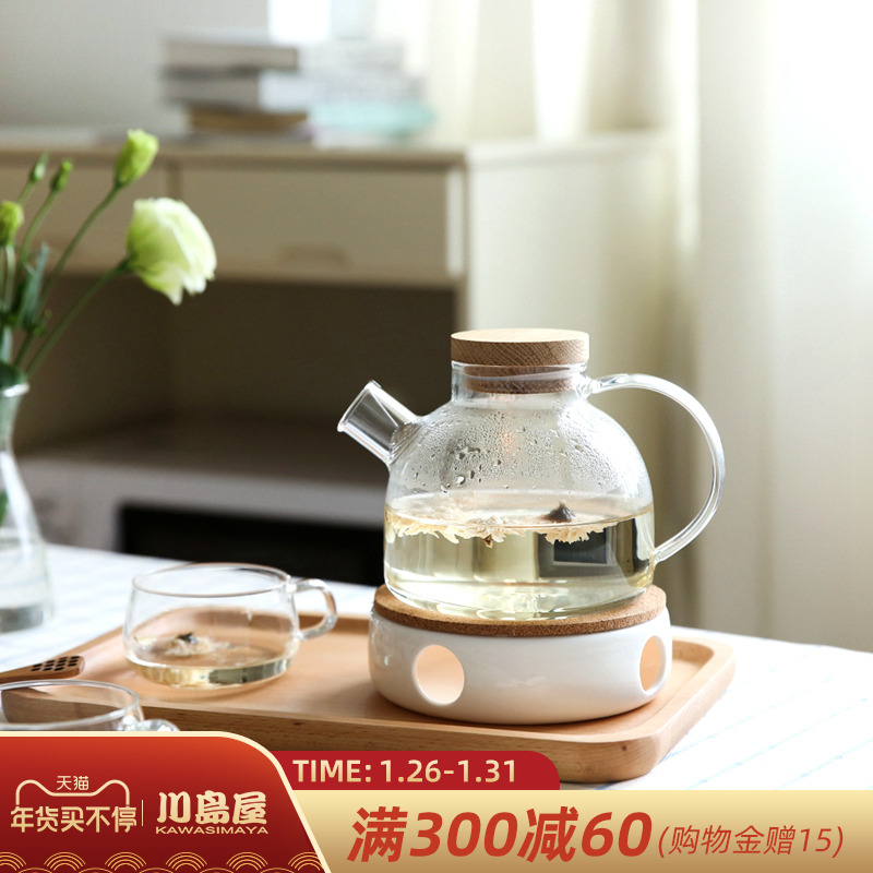 Kawashima House heat-resistant glass fruit teapot candle heated flower teapot teacout set English afternoon teapot tea set