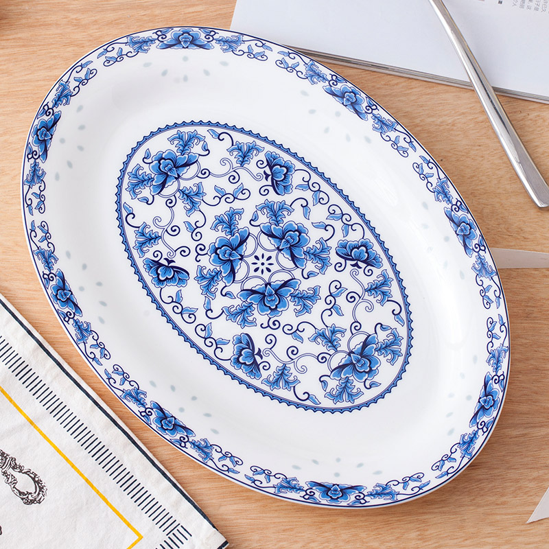 Large fish plate Microwave oven application Jingdezhen ceramics 12-inch bone china plate Oval fish plate