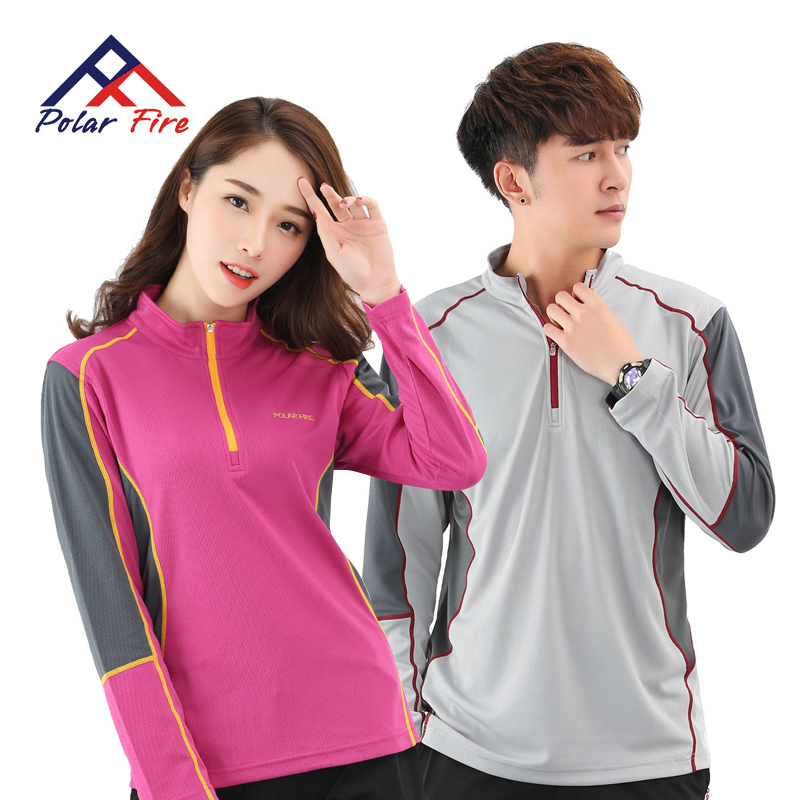 [The goods stop production and no stock]Polar Fire summer outdoor ladies sports casual t-shirt long-sleeved men collar breathable couple running clothes