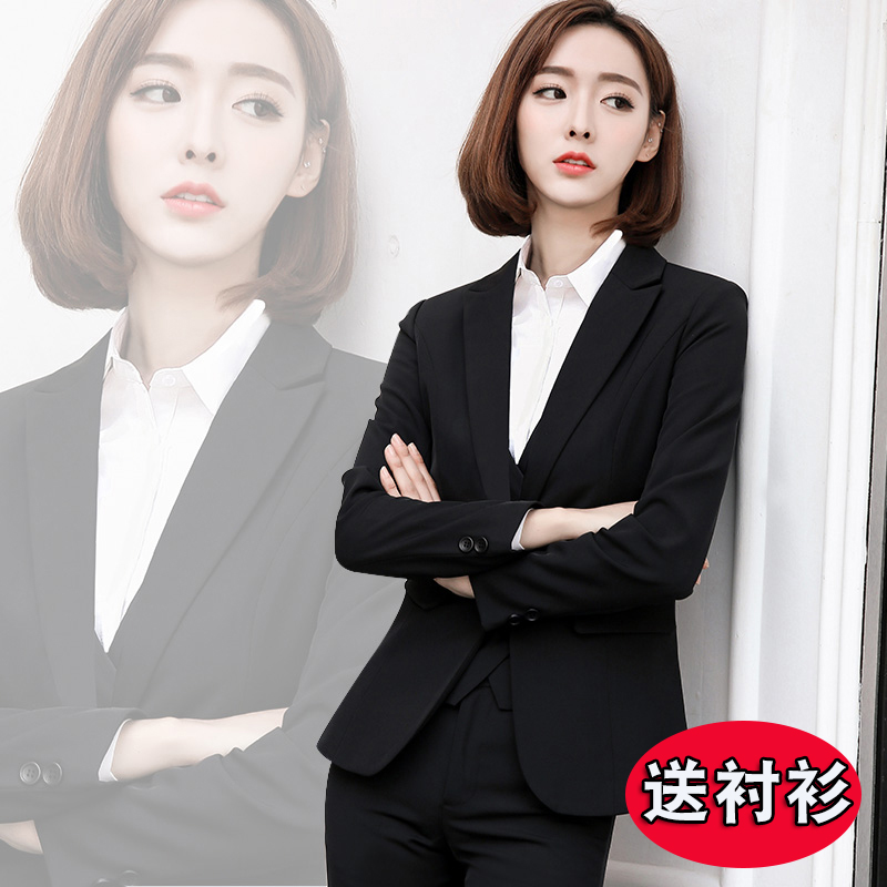 Dressed womens suit suit womens professional dress fashion temperament suit college students to work interview work clothes autumn and winter
