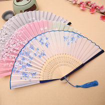 Fan folding fan Chinese style women's antique tassel summer portable classical costume ancient Chinese clothes folding small bamboo fan