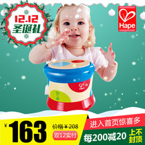 Hape Rolling music drum 6-36 months baby hand Pat Drum baby toy child puzzle Sound Light