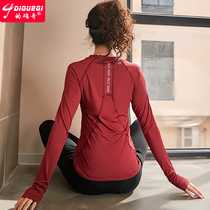 Indeed odd spring slim long-sleeved yoga suit sports shirt womens red running fitness clothes thin quick-drying t-shirt