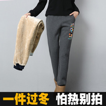 Winter Lamb cashmere sports pants women plus cashmere thickening autumn and winter pants loose casual mens trousers womens trousers cotton pants