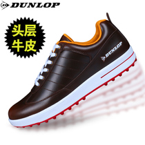 Golf shoes Mens leather British Dunlop Golf waterproof breathable nail sports shoes genuine