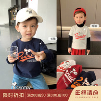 Chen Chen mother infant childrens clothing Snoopy 2020 parent-child wear long-sleeved T-shirt stacked clothes outside wear short-sleeved T-shirt