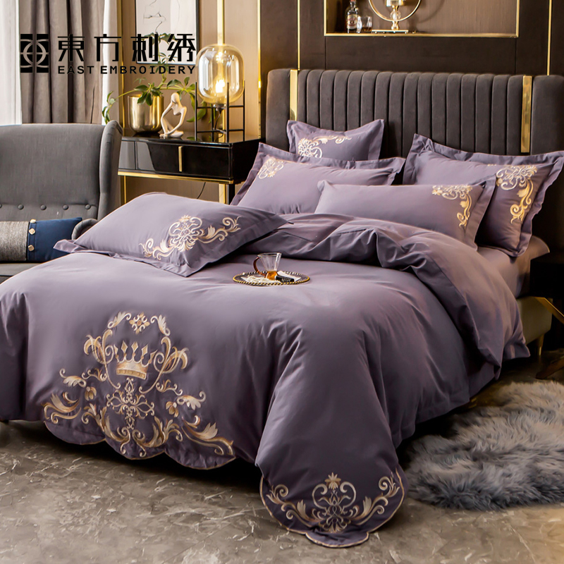 Oriental embroidery home textiles brushed pure cotton four-piece cotton thick warmth sheet duvet cover embroidery flower bedding