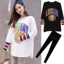 Pregnant women spring suit freaky personality in the long section of spring t-shirt spring and autumn fashion shirt early spring bottoming shirt