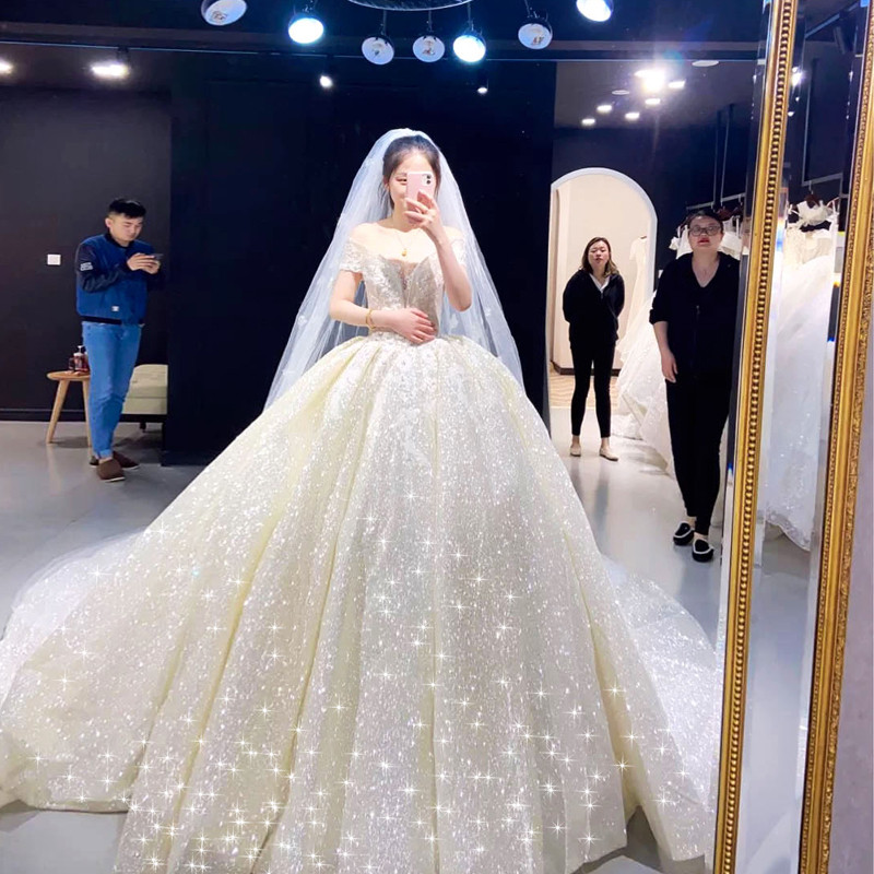Temperament main wedding dress 2020 new drag tail thin pregnant bride Sen is super fairy luxury heavy industry starry sky high-end