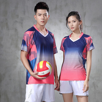 Custom volleyball suit mens short-sleeved sports badminton dress womens competition uniform training team uniform fast dry print number