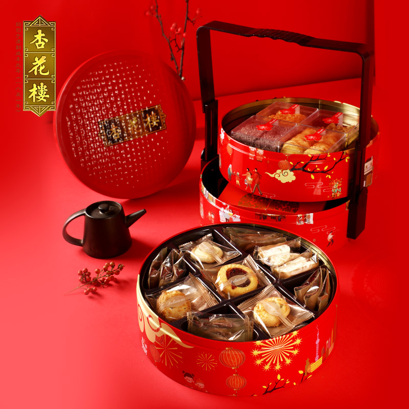 Apricot flower building old name Wanjia light snack pastry gift box biscuits Shanghai annual goods to buy the Spring Festival gift-giving elders