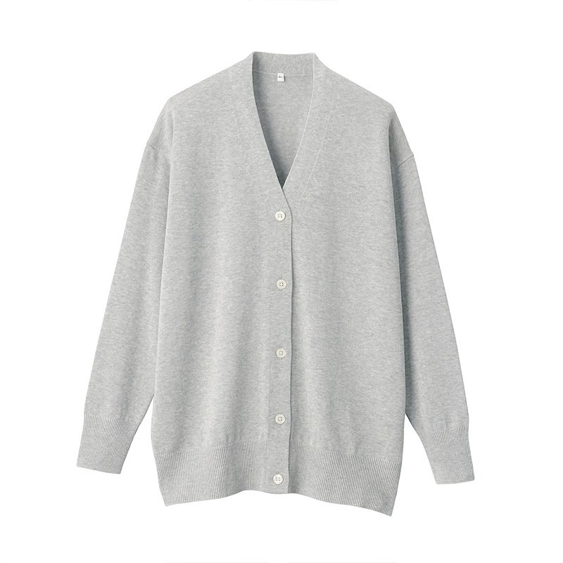Unprinted MUJI womens Modale cotton wide-plate cardigan