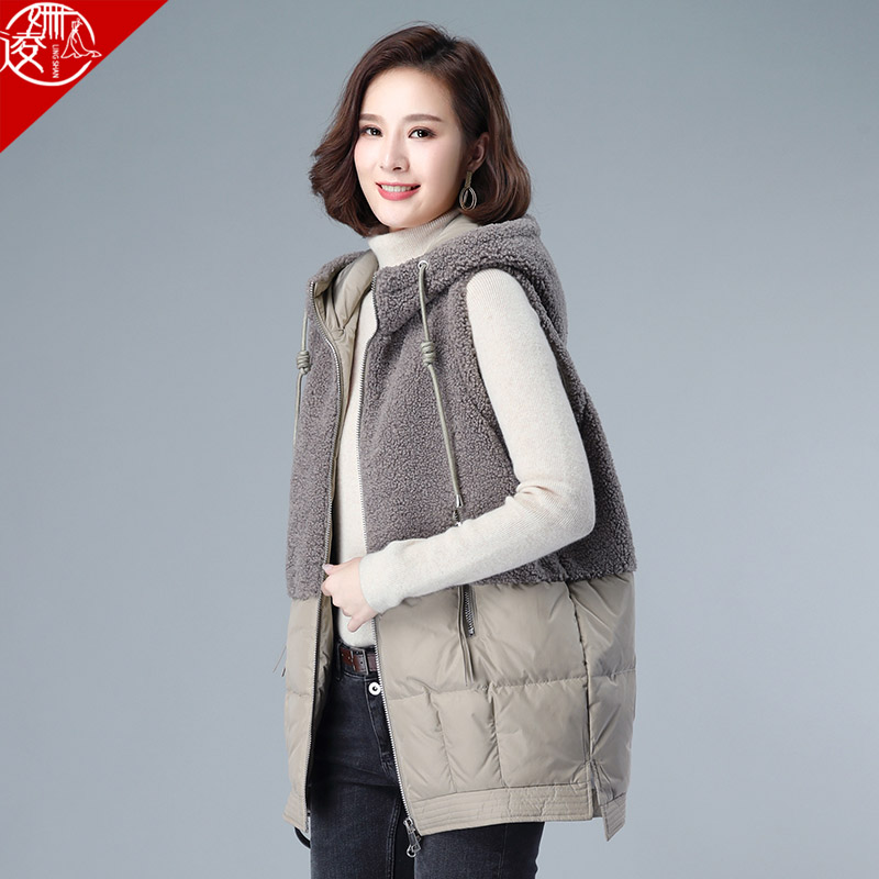 Down horse armor womens middle-length version of the 2020 new mother vest shoulder-length wearing autumn and winter 100-horse clip jacket girl