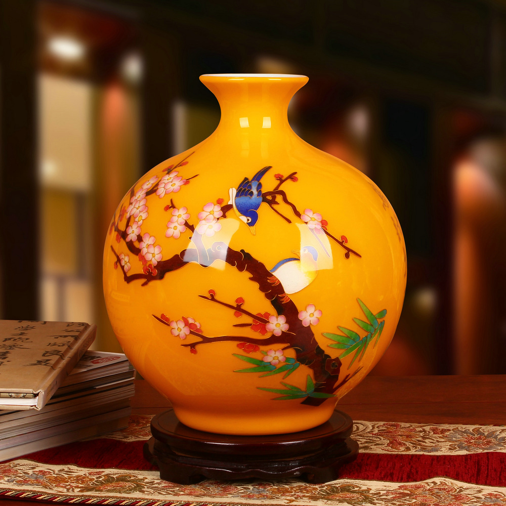 Jingdezhen Ceramics Golden Silk, Straw Yellow, Eyebrow Top Vase, Chinese-style Studio Crafts Arrangement