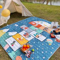 Outdoor picnic mat portable waterproof spring tour mat ins wind moistureproof mat thickened to increase the picnic mat beach mat