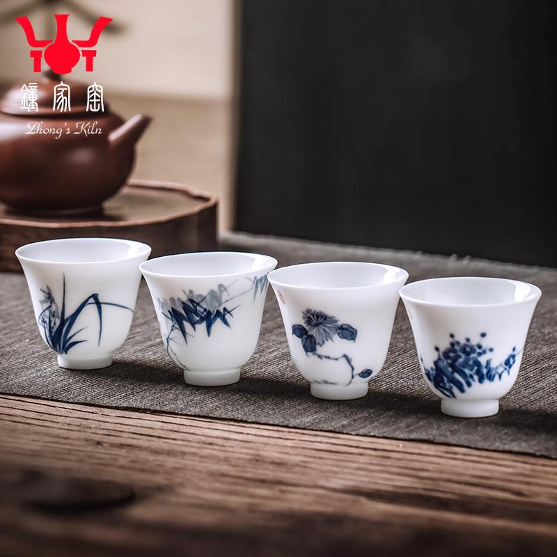 Zhongjia kiln owner cup single cup Jingdezhen hand-painted Meilan bamboo chrysanthemum small tea cup kung fu tea bowl jade mud bell bell cup