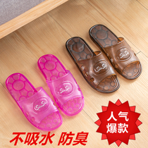 Summer bathroom bath home couple Crystal slippers transparent indoor men and women non-slip thick plastic sandals summer