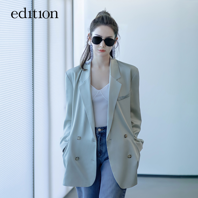 Qi Wei the same edition suit jacket women 2021 spring new acetic acid drop feeling casual suit high sense
