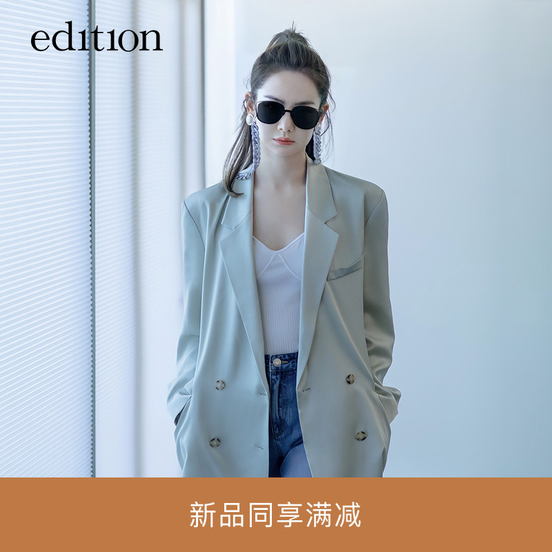 Qi Wei with the same idea suit jacket women 2021 spring new acetate feel casual suit high sense