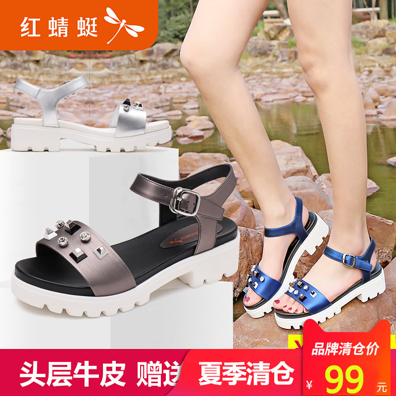 Red Dragonfly Sandals New Summer Fashion Rivet Decoration Leather Sandals Mid-heel Waterproof Terrace Ladies Sandals