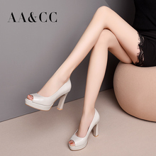 Spring and Summer of 2019 New Fish-Mouth Shoes Single Shoes Women's Thick-heeled Leather Shoes High-heeled Shoes Waterproof Table Black Small Leather Shoes