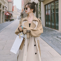Trench coat womens middle-length spring and autumn 2021 New Korean version of loose high-grade color color matching over knee coat