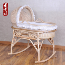 Long Green Rattan Pure Natural Real Rattan Baby Bed Environmental Paint Baby  Cradle Bed Baby Shaker