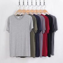 Mens short sleeve modal mens pajamas shirt shirt loose thin cotton home single piece home special size plus fat autumn