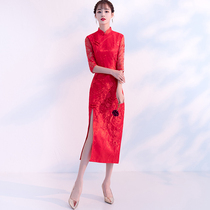 Autumn Red Show skinny sexy chinese style wedding dress