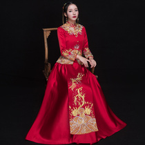 Xiu wo take bride 2018 new chinese wedding dress Fengong ancient costume marriage clothes toast Dress Winter