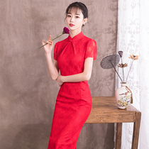 Red Chinese wind lace self-cultivation wedding dress