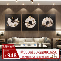 New Chinese Zen Hanging Painting Living Room Decorative Painting Modern Chinese Mural Sofa Background Wall Tea Room 3D Stereo Relief
