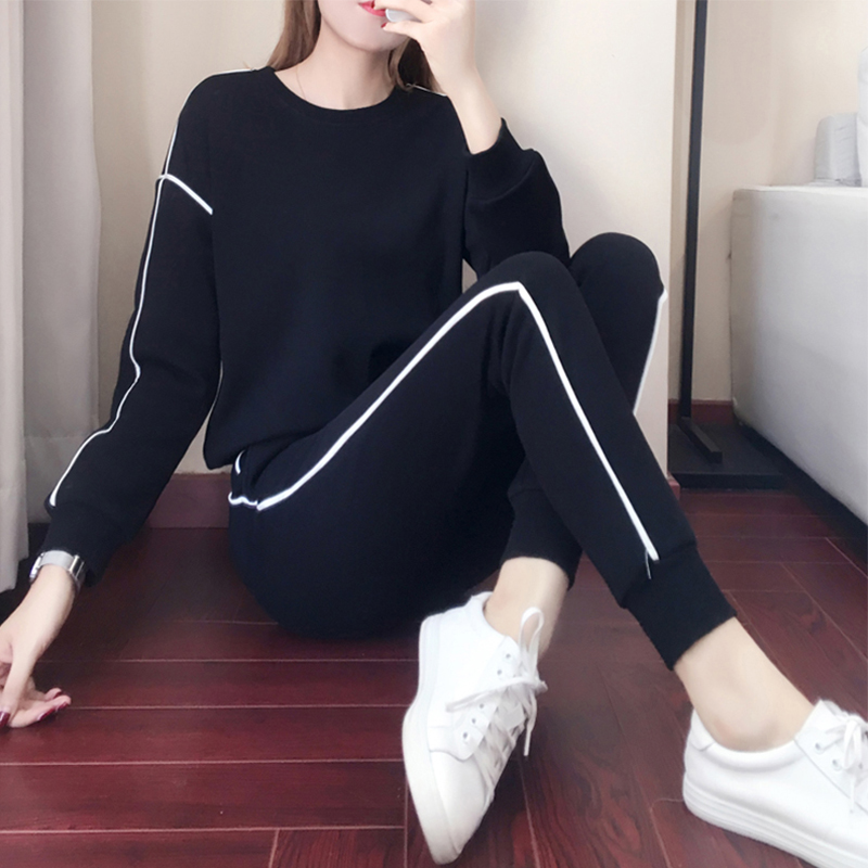 Hong Kong autumn and winter Korean version of leisure sports suit women plus plus-thick bf wind hundred thick cotton T trousers fashion two-piece set