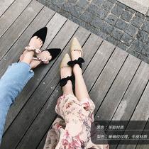 Mode Baotou de Zhang Dayi lézard-orteil pantoufles européenne fine enfants de chaussures casual lace-up bow talon