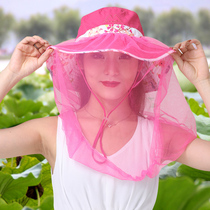 With a veil hat summer protection cycling mask hat cover Face outdoor fishing hat UV protection sunscreen large cap