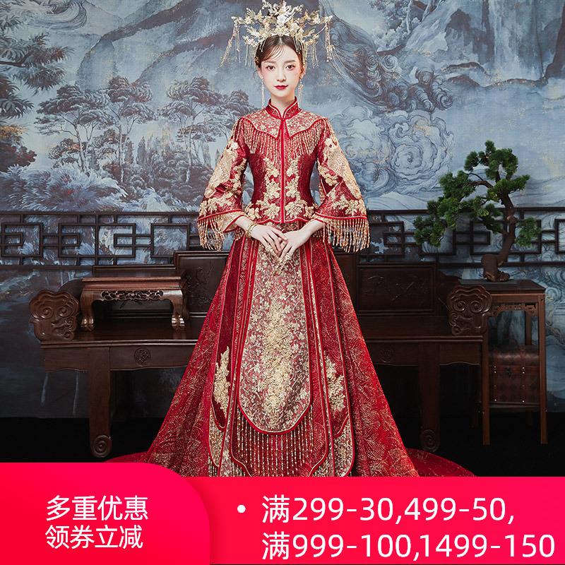 Drag tail show dress bride 2020 new Phoenix Crown Xia 帔 wedding dress chinese dress female groom couple show and
