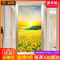 Xuan Guan decorative painting hand-painted oil painting modern simple living room mural European corridor aisle hanging picture Chaoyang sunflower