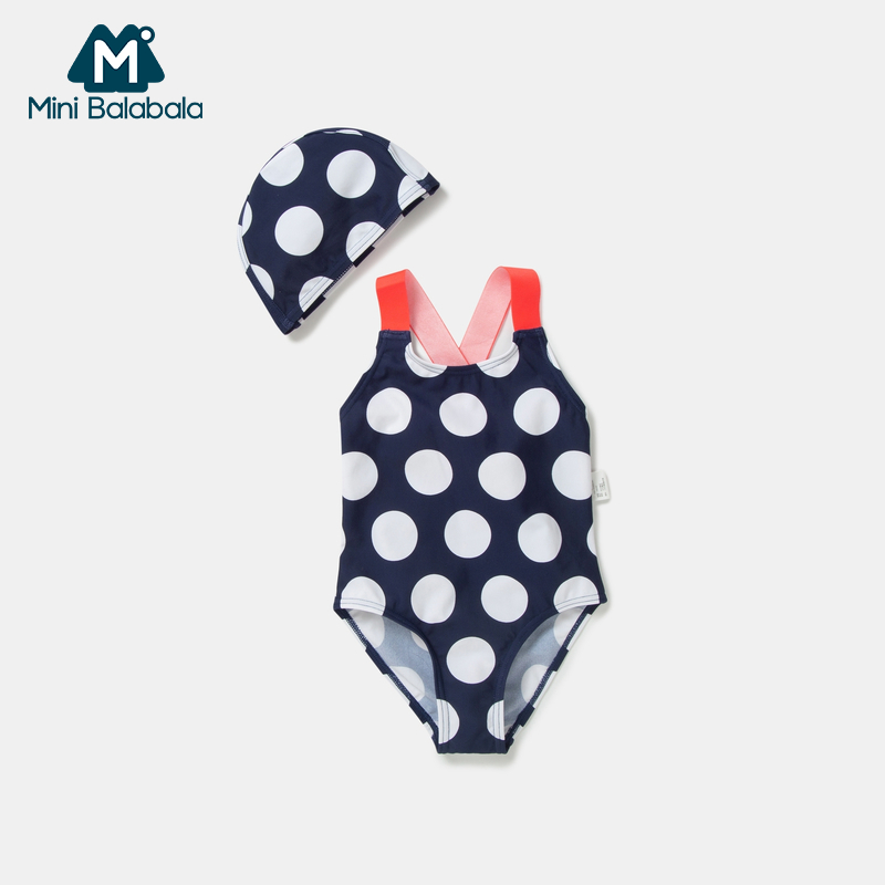 Mini Barabara Children's Swimming Suit Girls Point Swimming Suit Summer New Swimming Suit Girls Connected Swimming Suit Swimming Cap