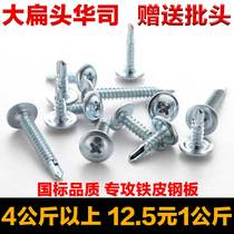 National standard cross large flat head drill tail wire self-tapping self-drilling dovetail screw screw large round head Huashi screw M4 2