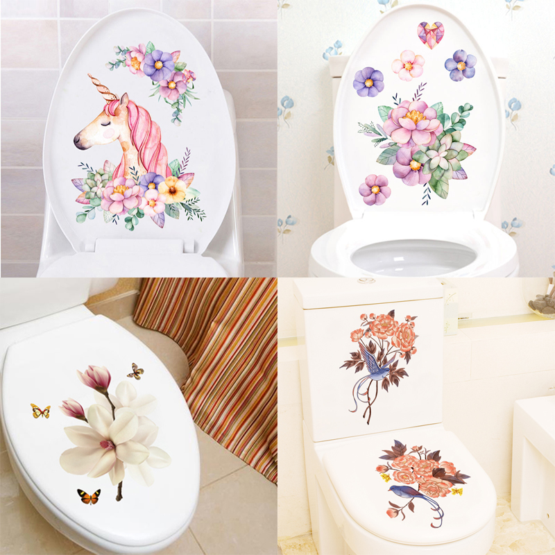 Toilet decoration waterproof wall sticker cute funny cartoon toilet bathroom toilet creative toilet sticker self-adhesive