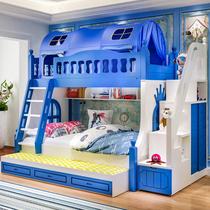 Детская кровать двухъярусная кровать из массивной древесины высокая и низкая кровать мать и сын двуспальная кровать двухъярусная деревянная кровать двухъярусная кровать слайд-кровать