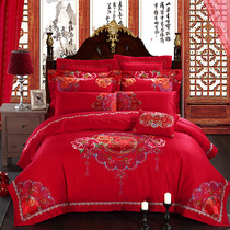 Cayenne textile embroidery wedding four-piece six-piece ten-piece set red bed multi-piece Love in the flower season