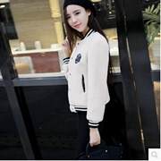 2016 new leisure cashmere imitation fur coat winter female thin short paragraph sweater female baseball uniform