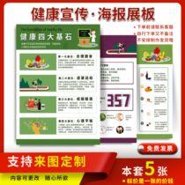 健康生活四大基石海报挂图适量运动心理平衡画合理膳食宣传墙贴纸