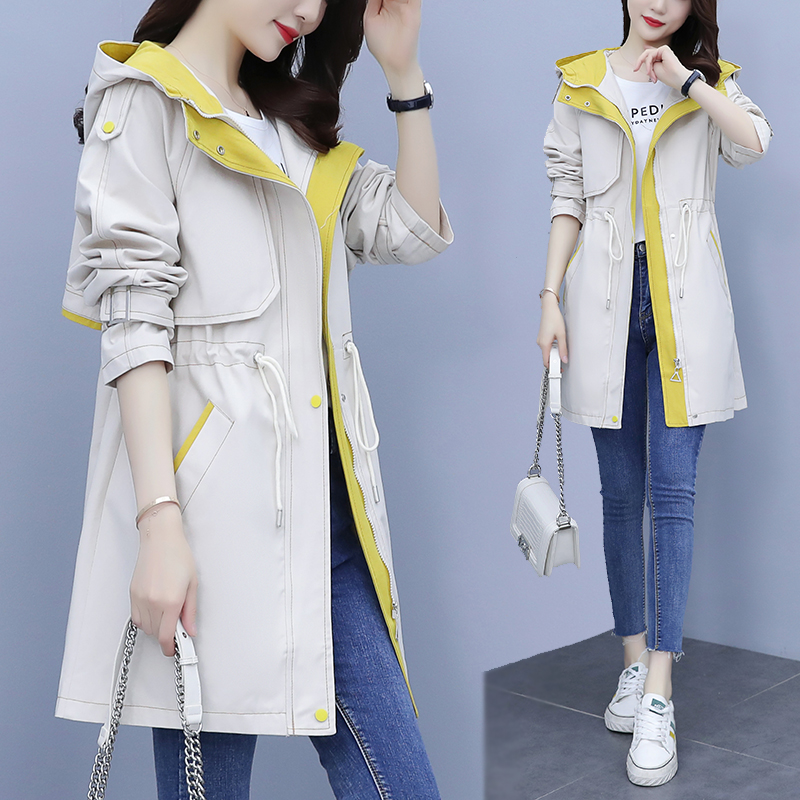 windbreaker womens long casual spring and autumn 2021 new spring fat mm large size coat thin wild small man